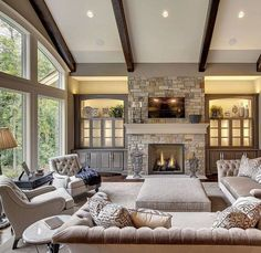 Large Living Room With Two Story Windows Gorgeous Lighting Large