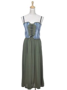 Anna-Kaci S/M Fit Green Laced Up Corset Denim « Impulse Clothes
