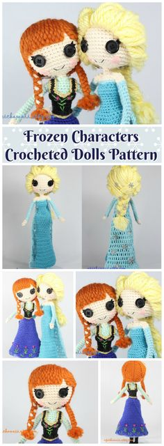 Frozen characters, Anna & Elsa crocheted doll patterns. Both patterns included! #etsy #handmade #gift #pattern #crochet #amigurumi #affiliate