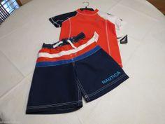 youth boys L 7 rash guard swim shorts trunks set short sleeve Nautica 803 orange #Nautica #SwimShortsrashguard