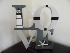 tall, hand painted Nautical LOVE sign in gorgeous greys with a Gallic flavour to the black and white Lighthouse. Love Signs, Lighthouse, Seaside, Nautical, Baby Boy, Hand Painted, Black And White, Mirror, Inspiration