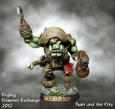 This is a converted Assault on Black Reach Nob. It was painted by some dude and than exchanged and then photographed and put on some blog. ;-) Orks 40k, Warhammer 40000, Warhammer Models, Warhammer Fantasy, Plastic Soldier Company, Ashley Wood, Blood Bowl, High Elf, The Grim