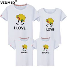 VIDMID 2017 New Family Matching Outfits kids Mom Dad Baby boys girls short-Sleeve Cotton T-shirts Family Clothing sets 6001 12