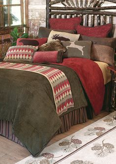 Rustic lodge bedding, western and cabin bedding collections. Find a huge selection of luxury rustic bedding and rustic bedroom furniture sets. Cabin Homes, Log Homes, Bedroom Furniture, Bedroom Decor, Lodge Bedroom, Master Bedroom, Cabin Furniture, Rustic Furniture, Master Suite