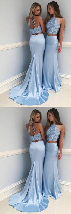 Sexy 2 Pieces Light Blue Mermaid Backless Long Prom Dresses Formal Party Dress LD1061 #laurashop #promdress #promdresses #mermaidpromdress #lightbluepromdress