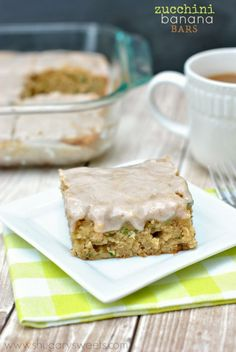 Zucchini Banana Cake Bars with a creamy, sweet Cinnamon glaze.