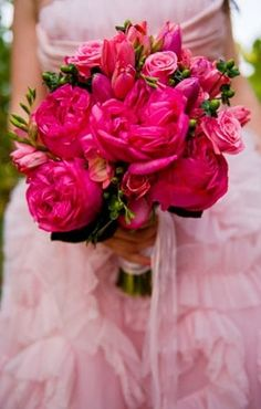 Electric Hot Pink Wedding Bouquet