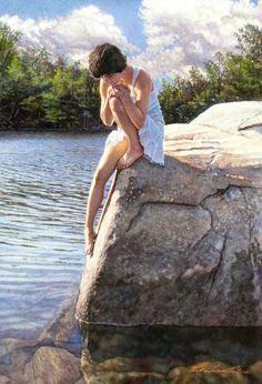 cuadros-realistas-de-mujeres-en-paisajes-pintados