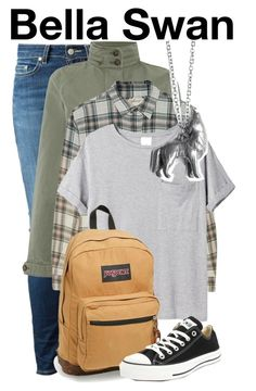 """Bella Swan ~Wendy Darling"" by the-fandom-gals ❤ liked on Polyvore featuring Dondup, Levi's, Current/Elliott, AR SRPLS, JanSport, Converse, offtoneverland and kenzietaryn"