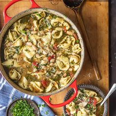 This Pesto Chicken Tortellini Soup is the ultimate healthy comfort food. All the… This Pesto Chicken Tortellini Soup is the ultimate healthy comfort food. All the flavor and none of the stress. Best tortellini soup ever! Chicken Tortellini Soup, Spinach Tortellini, Sausage Tortellini, Tortellini Recipes, Soup Recipes, Oven Recipes, Cooking Recipes, Freezer Friendly Meals