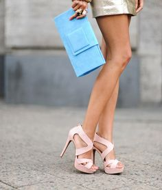 Turquoise clutch and amazing heels