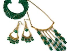 Green and Gold Jewelry Sets chandelier by TaraElisabethDesigns