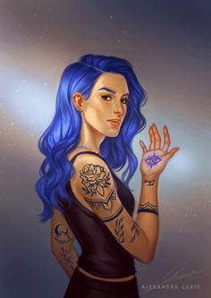 Karou is doone! 💙 I couldn't decide whether to make her hamsa tattoo glow or not, so went for both 😁   Karou is from Daughter of Smoke and Bones by Laini Taylor Fanart, Ghibli, Character Inspiration, Character Art, Bone Books, Laini Taylor, Girl Power Tattoo, Daughter Of Smoke And Bone, Bone Tattoos