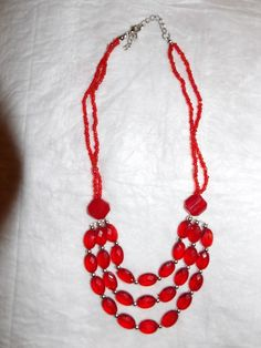 Hand beaded red three strand necklace with by KelleysKreationsLV