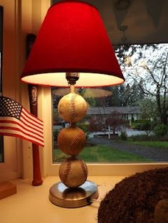 DIY baseball lamp.. This would be awesome to do with Lucas game balls.. I am so going to try this!