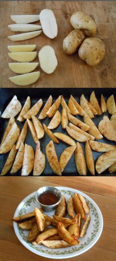 Lazy potato wedges for side dish or party snack. Slice each potato in half and each half into thirds or quarters, depending on size. Aim for wedge-shaped pieces.  Toss wedges with seasonings and light coating of oil. Start with a tsp each of salt, pepper, cumin, and paprika (plus cayenne, chipotle, or hot dry mustard for extra heat); plus more of anything to taste. Arrange all wedges with the point facing up and peel side down, so you get three crisp sides.  Bake at 425 for 40 min or until…
