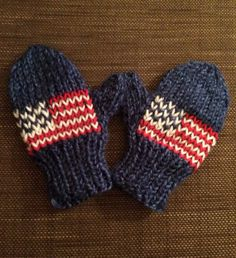 Hand Knitted Team USA Olympic Mittens