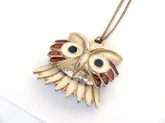 Vintage SARAH COVENTRY Enamel Owl Pendant Necklace on 12K Gold Filled by AJC Co Rare Designer Piece