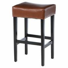 "Perfect for enjoying cocktails with friends, this handsome counter stool showcases a bonded leather seat and dark-finished legs.  Product: Set of 2 counter stoolsConstruction Material: Bonded leather, foam and solid hardwoodColor: Hazelnut and espressoFeatures:  Reinforced stitchingExtra padding for comfortBackless  Dimensions: 30.71"" H x 18.11"" W x 14.96"" D"