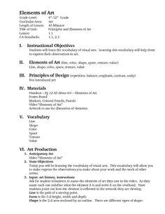 Elements Of Art Value Worksheets   Elements of Art Lesson