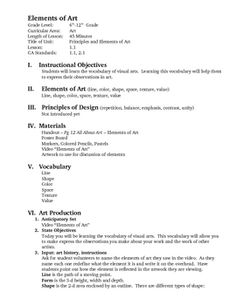 Elements Of Art Value Worksheets | Elements of Art Lesson