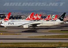 PIA Boeing 777-340/ER amongst the Turkish tails and a lone Emirates