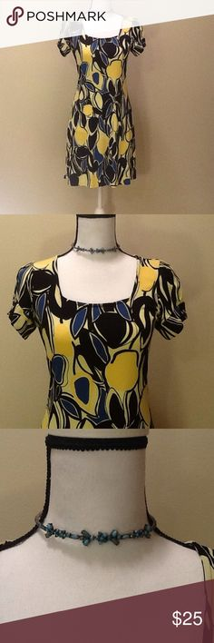 INC International Concepts Dress Small & Necklace Beautiful INC International Concepts Dress, Size Small, yellow, blue and black floral design, 95% poly, 5% spandex, perfect for spring and summer, very gently used, excellent condition. Also comes with the vintage looking chocker style necklace which compliments the dress perfectly! INC International Concepts Dresses