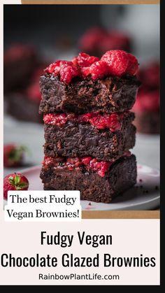 Melting Chocolate Chips, Chocolate Glaze, Vegan Chocolate, Chocolate Desserts, Vegan Dessert Recipes, Vegan Sweets, Vegan Food, Healthy Food, Brownie Recipes