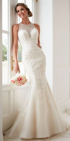 Stella York Spring 2017 elegant high neck wedding dress