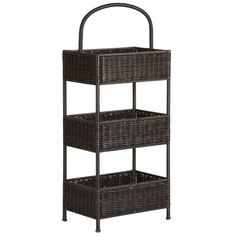 Storage for the horizontally challenged. Our moisture-resistant, synthetic-wicker basket brings three tiers of organization to small spaces (laundry rooms, bathrooms or kitchens). And that, friend, is what you call vertical thinking.