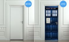 **TOTALLY NEED THIS Door STICKER Tardis Doctor Dr Who Police box movie by Wallnit, $44.99