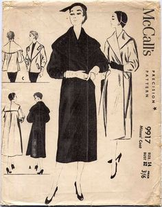 "32"" Unused ORIGINAL 1950's Large Cape Collar Coat Jacket Vintage Sewing Pattern in Crafts, Sewing & Fabric, Sewing 