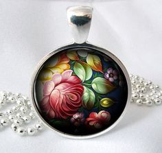 Art Pendant Zhostovo Flower Picture Pendant by PishPoshPendants