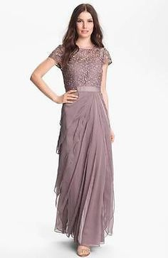 Adrianna Papell Layered Chiffon & Lace Gown BUFF MOTHER OF THE BRIDE SIZE 16