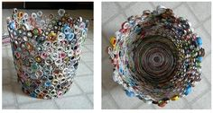 a cool way to recycle your old Glamours, Cosmos, Marie Claire mags...trash can made out of old magazines