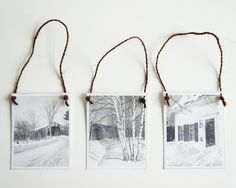 Ornaments, Vintage Holiday Card, Set of 3