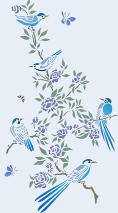 Small Chinoiserie Birds Stencil