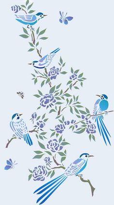 Small Chinoiserie Birds Stencil - http://www.hennydonovanmotif.co.uk/