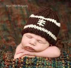 Knitted Baby Football Hat - Photography Prop
