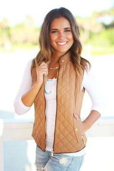 SOPHISTICATED VEST! Our Camel Quilted Vest With Pockets is perfect to pair with any top! You'll want to add this to your cool-weather wardrobe! Definitely a MUST HAVE piece for the upcoming fall and w