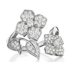 c2aaf5118ca8a5 PENNY PREVILLE Diamond Flower Ring 18K white gold diamond flower wrap  around ring featuring 71 round