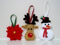 felt poinsettia, reindeer and snowman ornaments