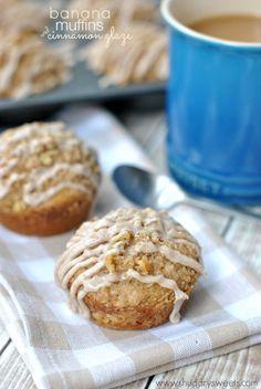 Cinnamon Glazed Banana Streusel Muffins: easy, delicious breakfast treat!