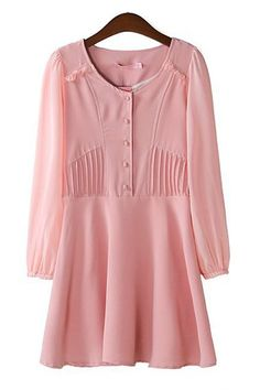 Puff Sleeve Pleating Chiffon Dress