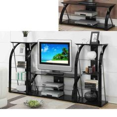 Details about black glass metal dynamic tv stand entertainment center media console / shelf Tv Stand And Entertainment Center, Entertainment Center Decor, Metal Tv Stand, Console Shelf, Tv Stand Designs, Tempered Glass Shelves, Elderly Home, Tv Decor, Decor Ideas