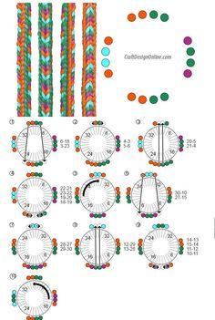 Kumihimo Bracelet, Bracelet Fil, Bracelet Crafts, Jewelry Crafts, Braided Bracelets, Handmade Bracelets, Diy Friendship Bracelets Patterns, Bracelet Tutorial, Yarn Crafts