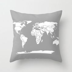Pillow - Grey and White Map of the World Pillow- Home Decor - modern