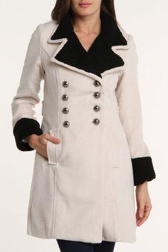 SOOOOOO WANT Ivory and Black Double Breasted Coat