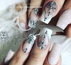 New nail art design gold simple Ideas New Nail Art Design, Cute Acrylic Nail Designs, Pink Nail Designs, Simple Nail Designs, Cute Acrylic Nails, Nails Design, Design Art, Gold Nails, White Nails