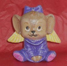 Sitting Angel Mouse Girl figurine. Hand Painted. OOAK ceramic art. #PourBoyCeramics #HandPaintedOOAKCeramicArt